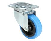 Roulette pivotante bande bleue sans freins 100mm