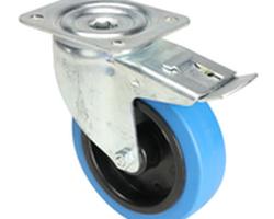 Roulette pivotante bande bleue avec freins 100mm