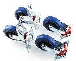 Lot de 4 roulettes pivotantes dont 2 à freins 100mm+ accessoires de fixations