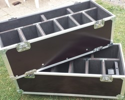 Flight case de 8 par slim + compartiment avec rehausse de 8